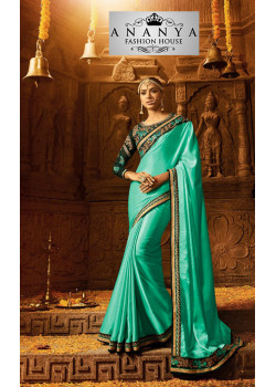 Luscious Light Green Georgette Saree with Dark Green Blouse