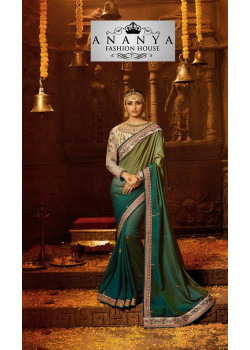 Melodic Multicolor Georgette Saree with Brown Blouse