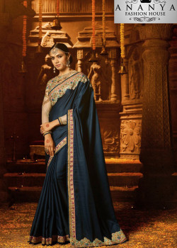 Plushy Dark Blue Georgette Saree with Grey Blouse