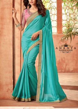 Enigmatic Blue Nyraa Silk Saree with Pink Blouse