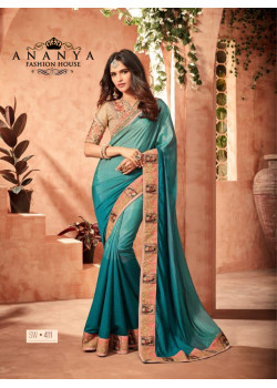 Adorable Blue Fusion Silk Saree with Brown Blouse