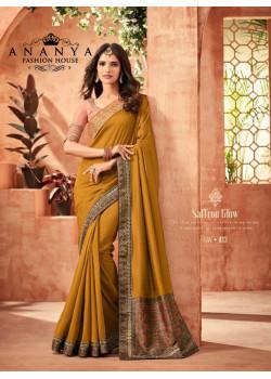 Luscious Yellow Nyraa Silk Saree with Pink Blouse