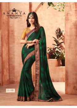 Divine Dark Green Sunshine Silk Saree with Yellow Blouse