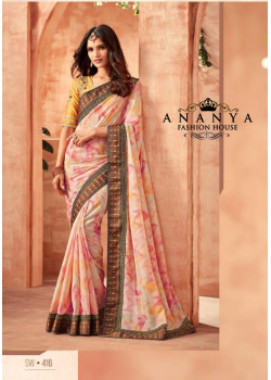 Charming Pink German Silk- Georgette Saree with Yellow Blouse