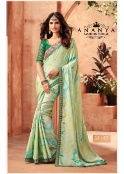 Dazzling Green Monarch Silk Saree with Green Blouse
