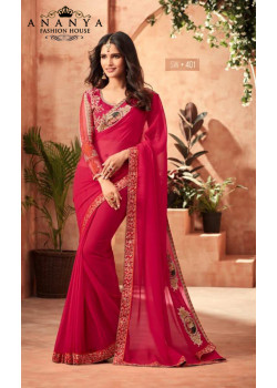 Dazzling Pink Star Georgette Saree with Pink Blouse