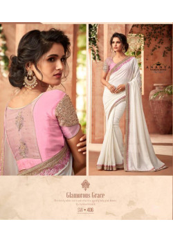 Incredible White Super Silk-Georgette Saree with Pink Blouse
