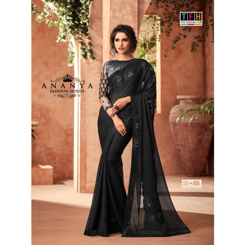 Magnificient Black Korian Silk-Chiffon Saree with Black Blouse