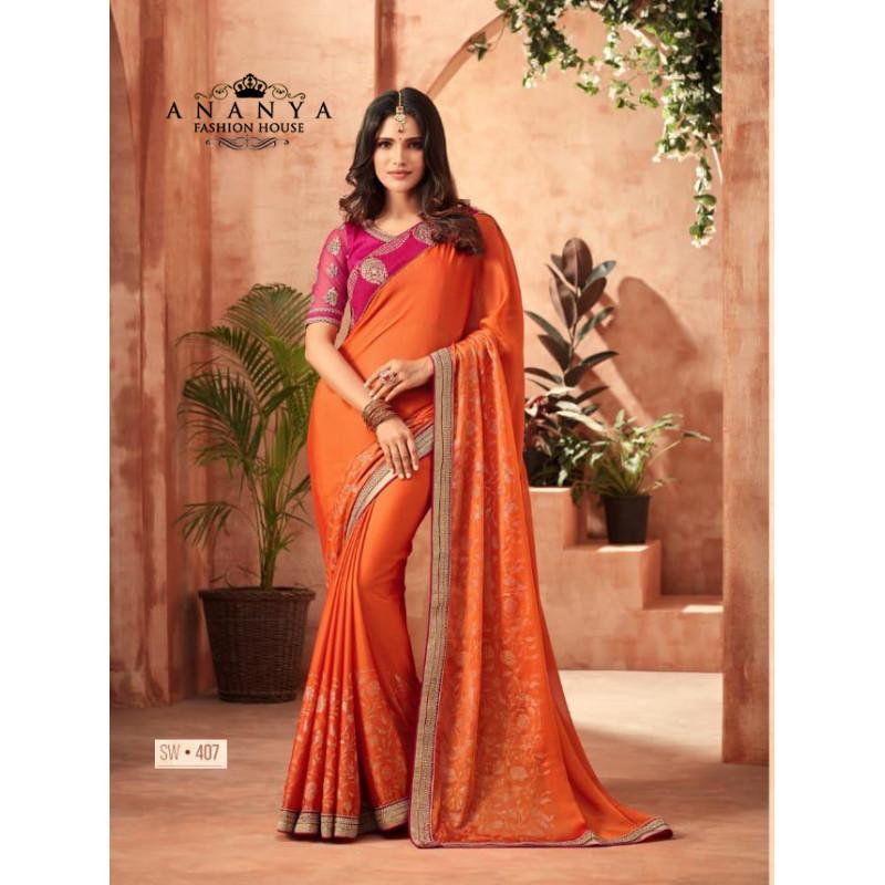 Plushy Orange Korian Silk-Chiffon Saree with Pink Blouse