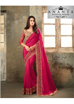 Luscious Pink Two Tone Silk- Zinni Silk Saree with Pink Blouse