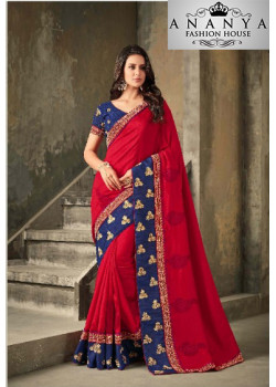 Melodic Red Vichitra Silk Saree with Blue Blouse