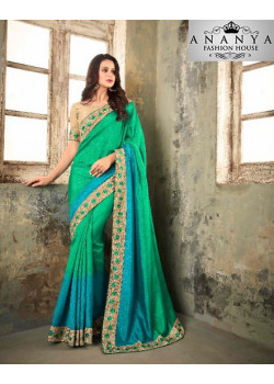 Charming Green-Blue Shaded Apple Silk Saree with Gold Blouse