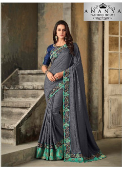 Divine Silver Vichitra Silk Saree with Dark Blue Blouse