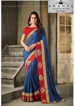Exotic Blue Royal Silk Saree with Red Blouse