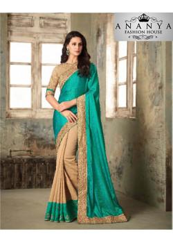 Adorable Blue  Victira Silk Saree with Brown Blouse