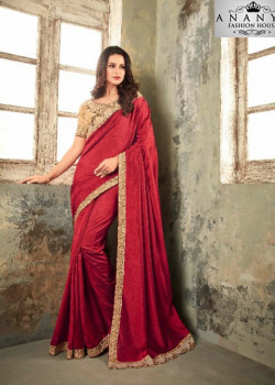 Classic Red Two Tone Silk- Zinni Silk Saree with Brown Blouse