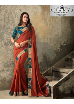Dazzling Red Two Tone Silk- Zinni Silk Saree with Blue Blouse
