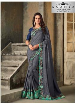 Divine Silver Vichitra Silk Saree with Dark Blue Blouse