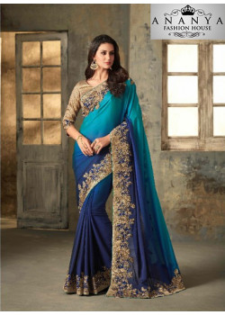 Enigmatic Blue Shaded Rangoli Saree with Brown Blouse