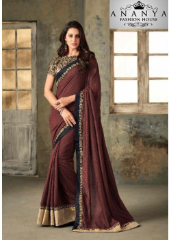 Gorgeous Brown Vichitra Silk Saree with Black Blouse