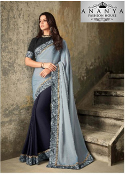 Magnificient Silver Tabby Silk Saree with Black Blouse