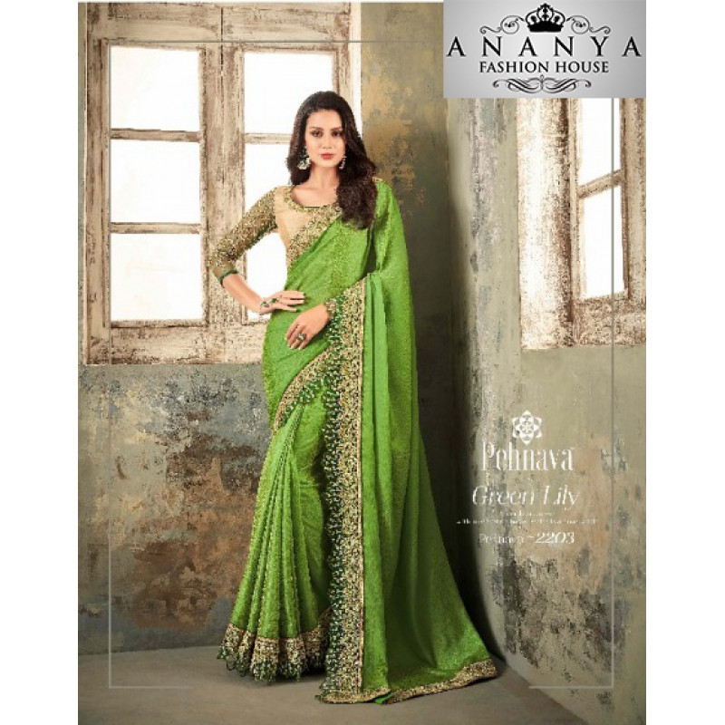 Melodic Green Textured Silk Saree with Gold Blouse