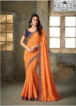 Trendy Orange Rangoli Two Tone Saree with Blue Blouse