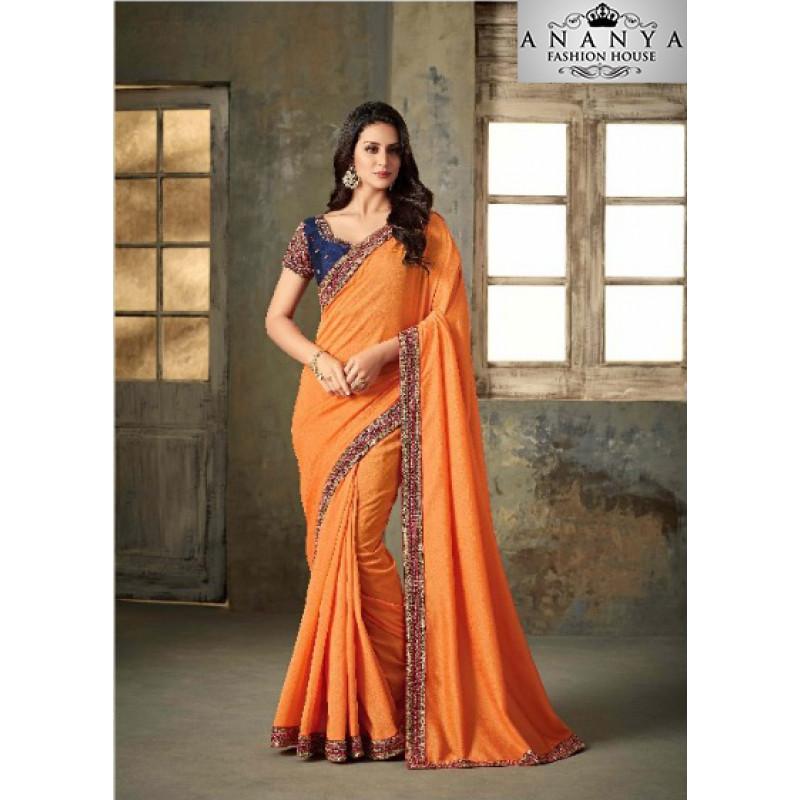Trendy Orange Rangoli Two Tone Saree with Blue Blouse
