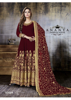 Incredible Maroon Faux Georgette Salwar kameez