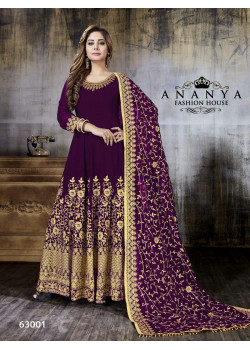 Gorgeous Purple Faux Georgette Salwar kameez