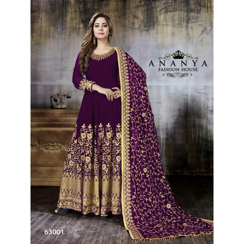 Gorgeous Purple Faux Georgette Salwar kameez