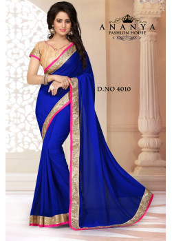 Melodic Blue Georgette Saree with Gold Blouse