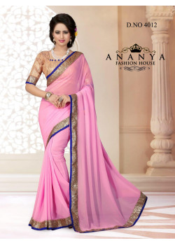 Adorable Pink Georgette Saree with Gold Blouse
