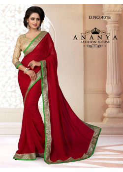 Dazzling Brown Georgette Saree with Gold Blouse