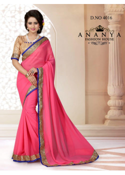 Melodic Pink Georgette Saree with Gold Blouse