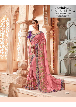 Exotic Pink Georgette Saree with Purple Blouse