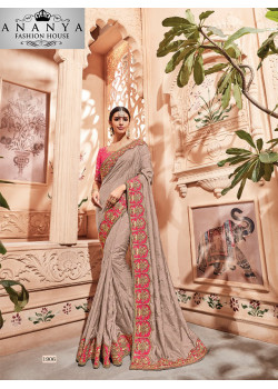 Magnificient Grey Georgette Saree with Pink Blouse