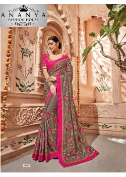 Incredible Grey Georgette Saree with Pink Blouse
