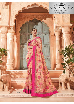 Plushy Orange Georgette Saree with Pink Blouse