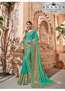 Adorable Green Georgette Saree with Green Blouse
