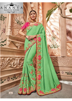 Charming Green Georgette Saree with Pink Blouse