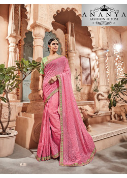 Classic Pink Georgette Saree with Green Blouse