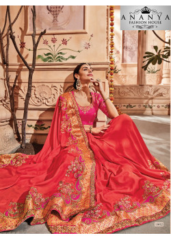 Dazzling Red Georgette Saree with Pink Blouse