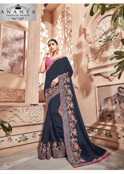 Divine Blue Georgette Saree with Pink Blouse
