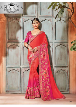Gorgeous Red Georgette Saree with Pink Blouse