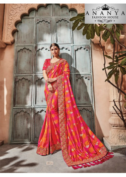 Luscious Pink Georgette Saree with Pink Blouse