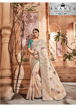 Trendy White Georgette Saree with Blue Blouse
