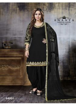 Adorable Black Art Silk Salwar kameez
