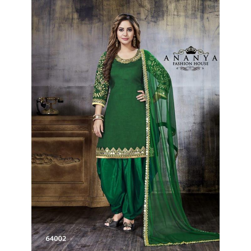 Flamboyant Green Art Silk Salwar kameez