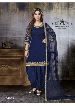 Luscious Blue Art Silk Salwar kameez